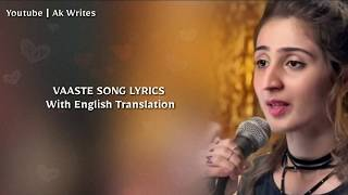 Gambar cover Vaaste Lyrics English Translation | Dhvani Bhanushali | Nikhil D'souza | Tere Liye Mera Safar Tiktok