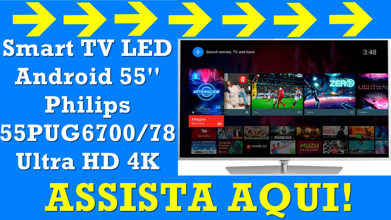 Smart TV LED Android 55   Philips 55PUG6700 78 Ultra HD 4K com Conversor  Digital 3 HDMI 3 USB 892cf02f4681