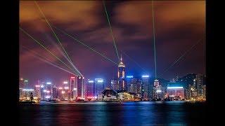 Лазерное шоу на Набережной Гонконга. Китай . Laser show  on the Waterfront of Hong Kong. China