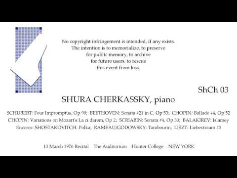 SHURA CHERKASSKY  13 March 1976  The Auditorium. Hunter College  NEW YORK