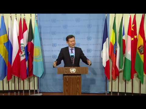 Kairat Umarov (Kazakhstan) on UNRCCA - Security Council Media Stakeout (10 January 2018)