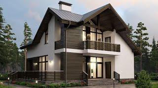 Меленький дом в скандинавском стиле из арболита 11 х 11 с мансардой 150 кв м | Ремстройсервис М 192