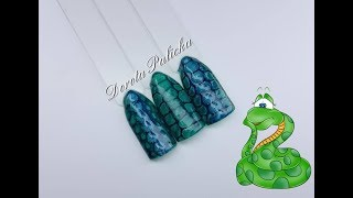Episode #3 Snake skin easy nail art design. Gel polish art with snake skin, gel top marble