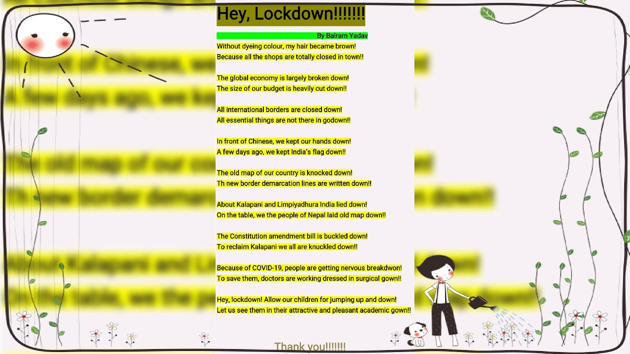    Hey , Lockdown    A poem composed  by Balram Yadav   
