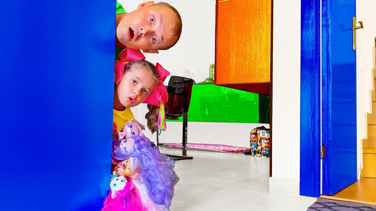 Катя и папа их приключения в домике у Макса