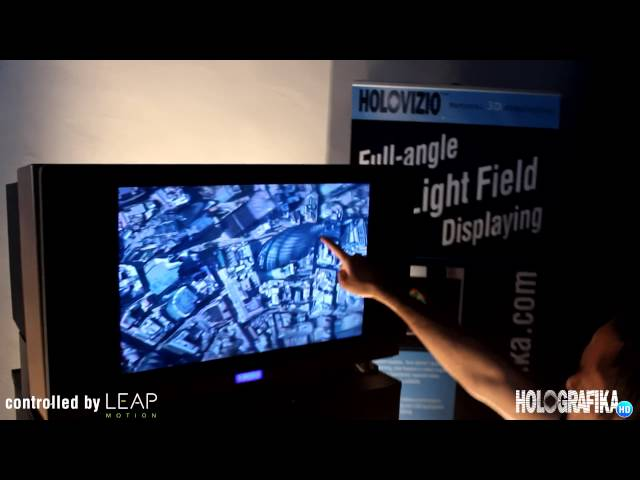 MyVR demonstration on HoloVizio 80WLT Full-angle Light Field display controlled by Leap Motion