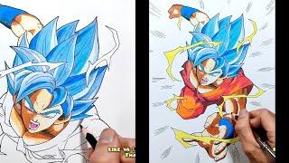 Vẽ Goku Super Saiyan Blue Bằng Bút Chì Màu - Drawing Goku Dragon Ball Super