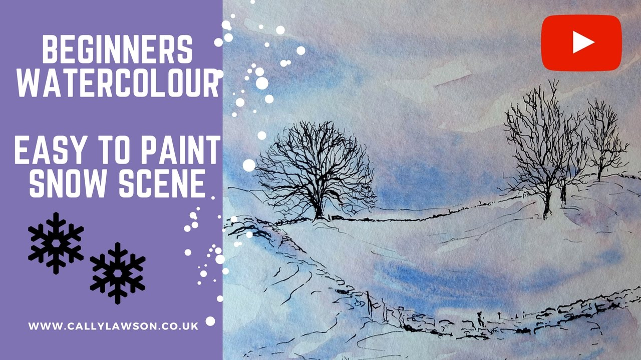 Watercolour snow scene for beginners youtube for Watercolor scenes beginners