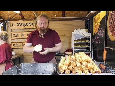 Fried Langos From Hungary And Fried Potato Pancakes. Street Food Tasted In Prague, Czech Republic
