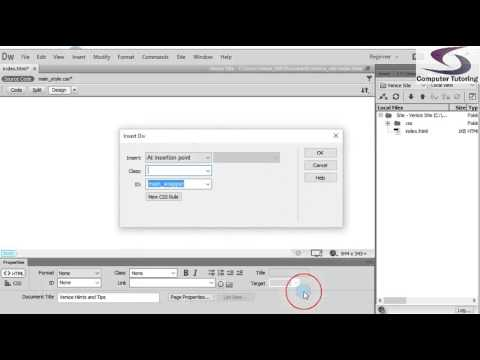 Using Divs and CSS to Layout a webpage in Dreamweaver - Part 3