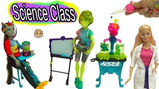 Science Class with Monster High Students + Teacher Barbie Doll with Color Change Experiment