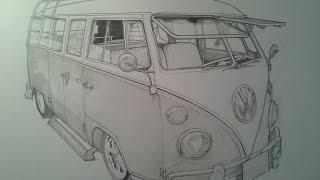 Timelapse Pencil Sketch VW Camper VAn