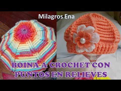 Boina con Flor Tejida a crochet o Ganchillo paso a paso con ...