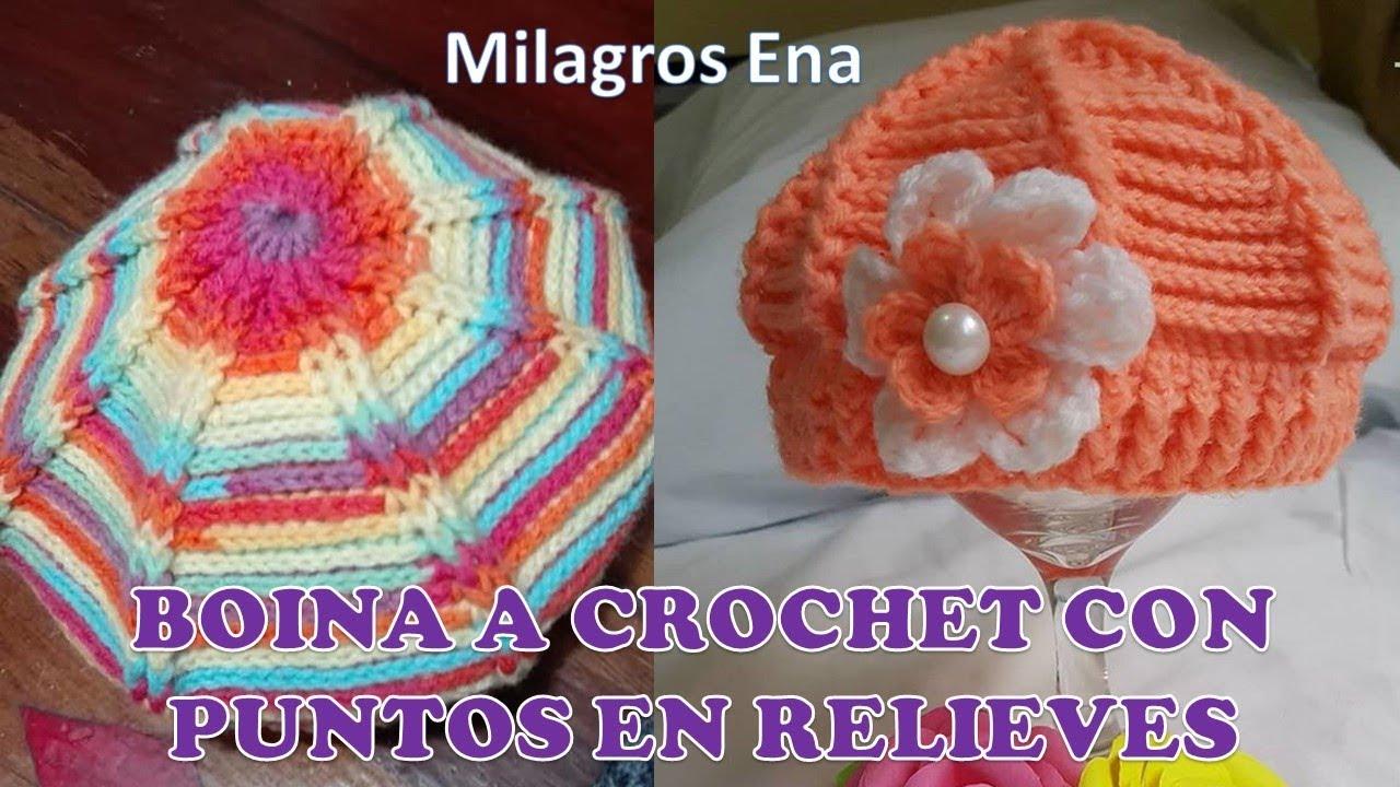 48f2d0a4e4823 Boina en RELIEVES con Flor Tejida a crochet paso a paso con indicaciones  para cualquier edad