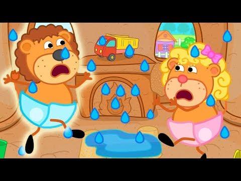 Lion Family Flood in the Sandy Castle Cartoon For Kids