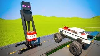 Cars attacking Lego Enderman | Brick Rigs