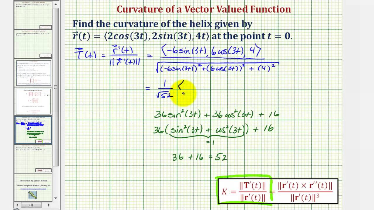 Ex 2B: Find the Curvature of a Space Curve Given by a Vector Function (No  Cross Product)