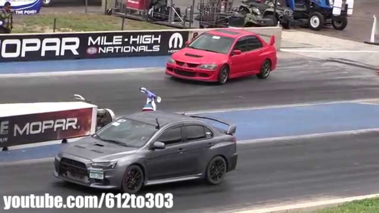 mitsubishi evo 8 vs evo 10 drag race