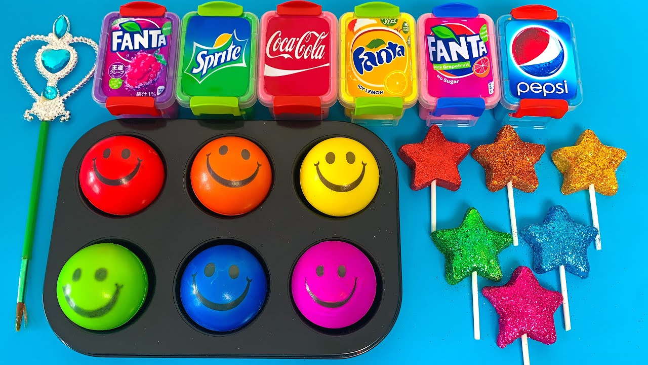 Satisfying with Smiley Ball, Glitter Star, Slime Fanta,CoCa Cola,Pepsi! How To Make & Mixing Slime
