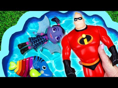 Colors and Characters with Toys for Kids - The Incredibles and Animals, Toys in a Pool #1