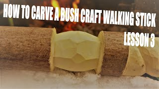 How to carve a bush craft walking stick lesson 3 (faceted diamond)