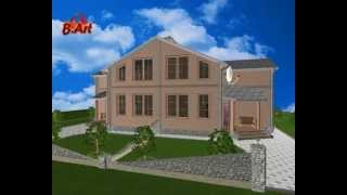 Проект частного загородного дома на 2 семьи - LS057