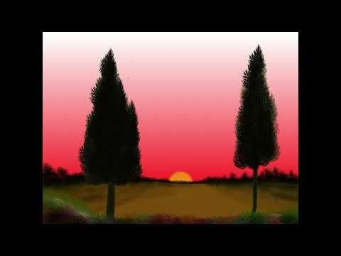 Medibang Paint Pro Beautiful Sunset Landscape Painting