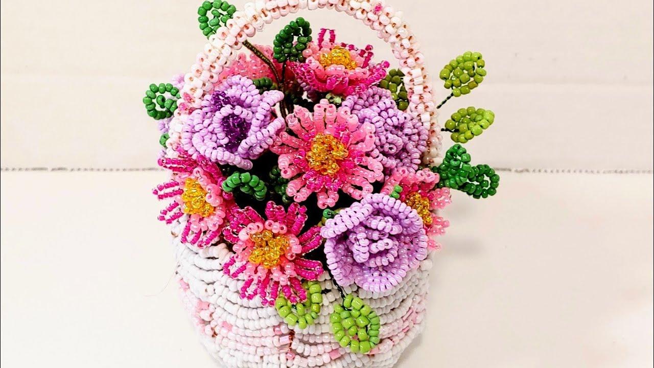 #цветы из бисера МИНИАТЮРНАЯ КОРЗИНОЧКА С ЦВЕТАМИ из бисера АНОНС от Koshka2015 - цветы из бисера