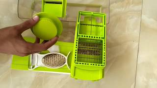 Ganesh Vegetable Dicer,12 Cutting Blades, Green unboxing