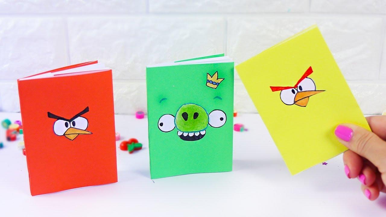 3 DIY Блокнотики  Энгри Бердс  с нуля своими руками