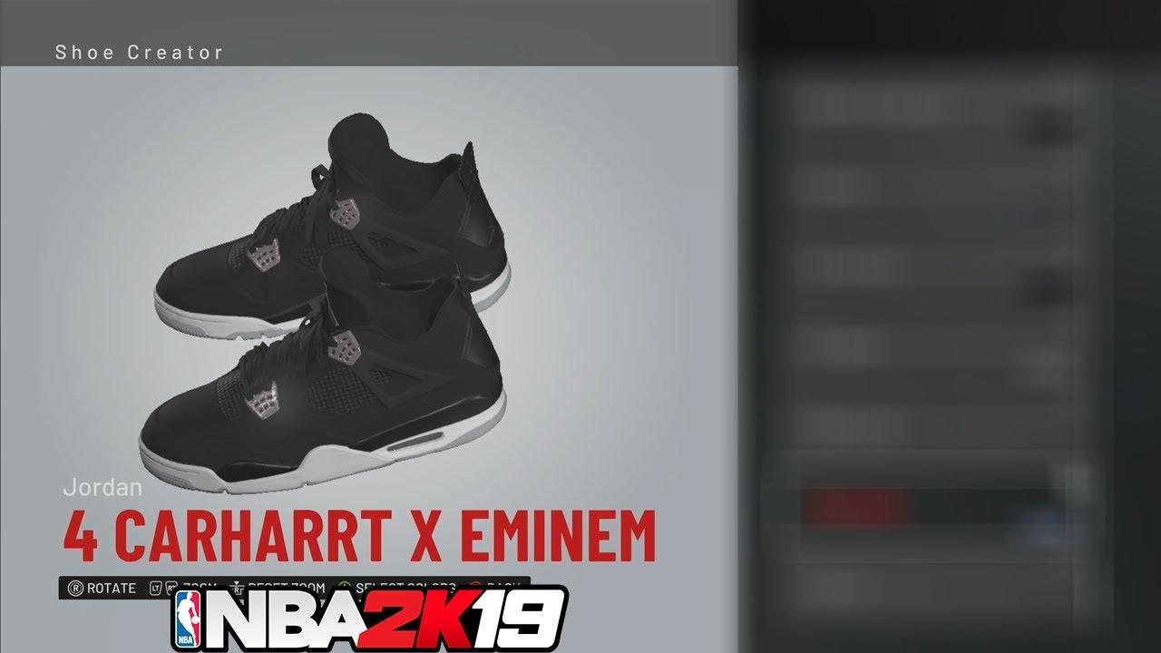 13d6f671254e NBA 2K19 Shoe Creator Jordan 4 Carhartt X Eminem - YouTube