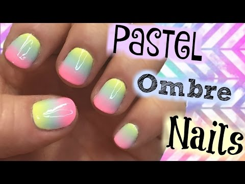 Pastel Rainbow Ombre Nail Art Tutorial For Short Nails