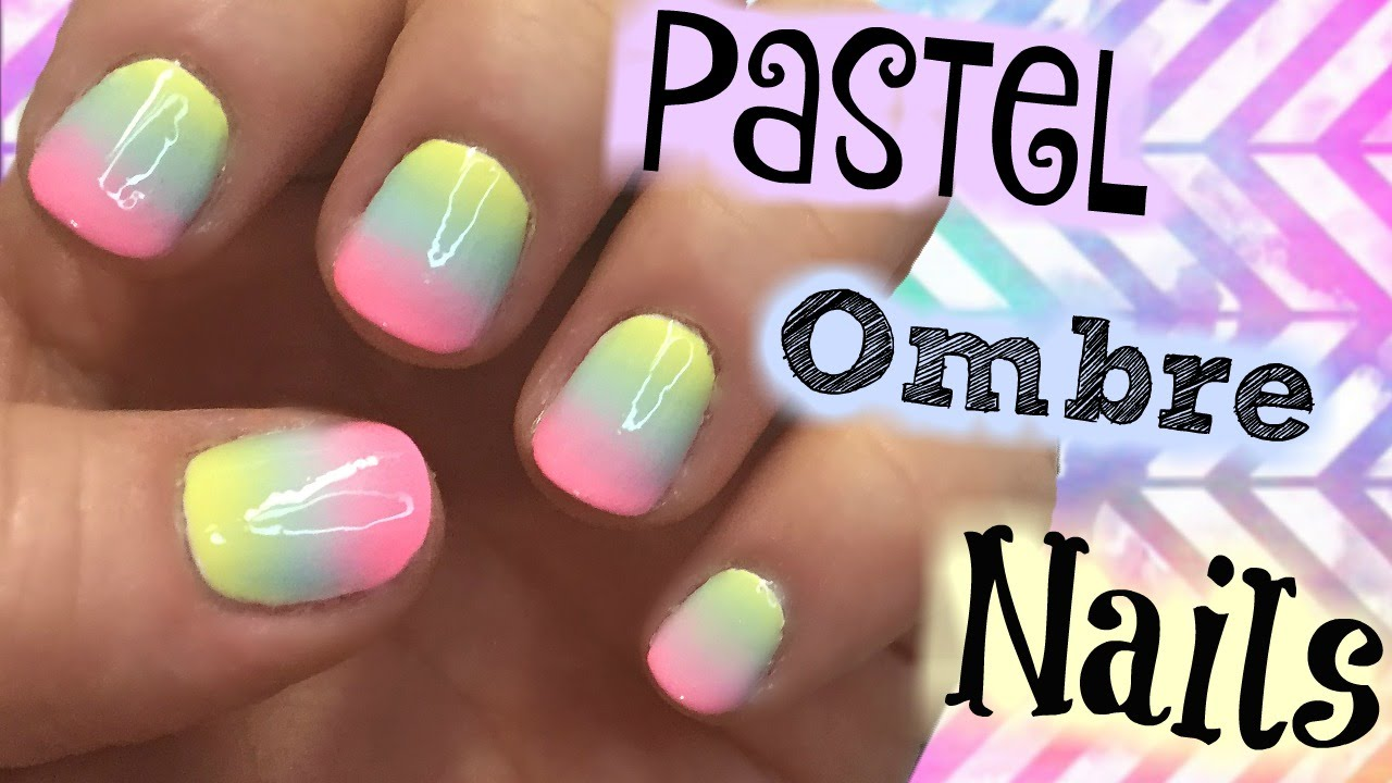 Pastel Rainbow Ombre Nail Art Tutorial For Short Nails ...