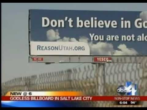 Atheist Billboard - Salt Lake City, UT - Utah Coalition of Reason - Local news