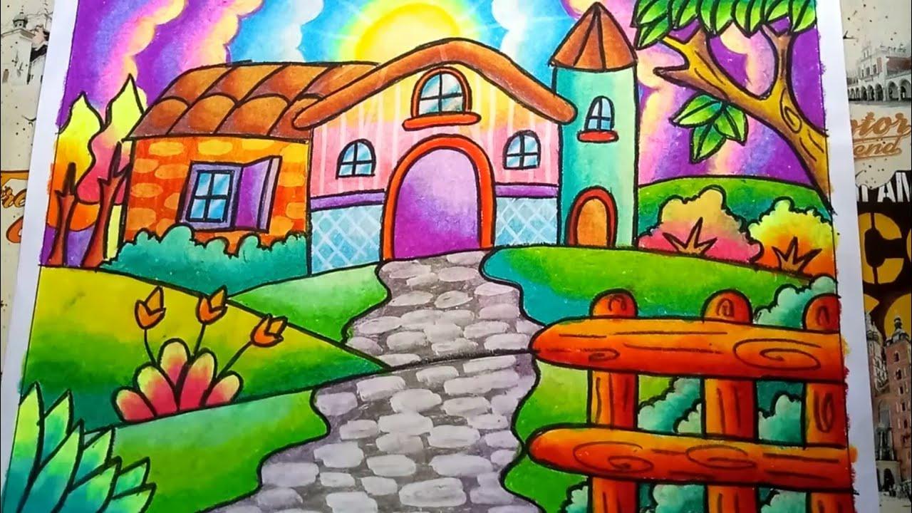 Cara Menggambar Dan Mewarnai Pemandangan Yang Indah Dengan Gradasi Crayon