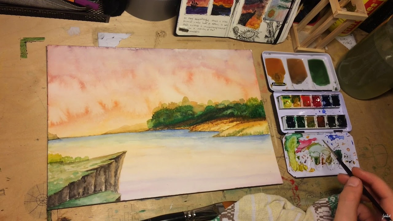Landscape Watercolor Painting Time-lapse | Wizard's view | Fantasy