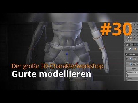 Blender 3D-Charakterworkshop Teil 1 | #30 – Gurte modellieren
