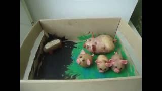 Поделка из картошки для детского сада. Свинка и поросята. Быстро и просто.