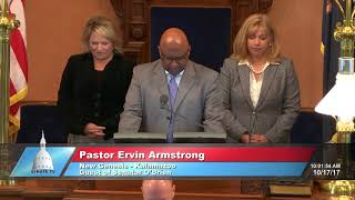 Sen. O'Brien welcomes Pastor Armstrong to the Michigan Senate to deliver the invocation