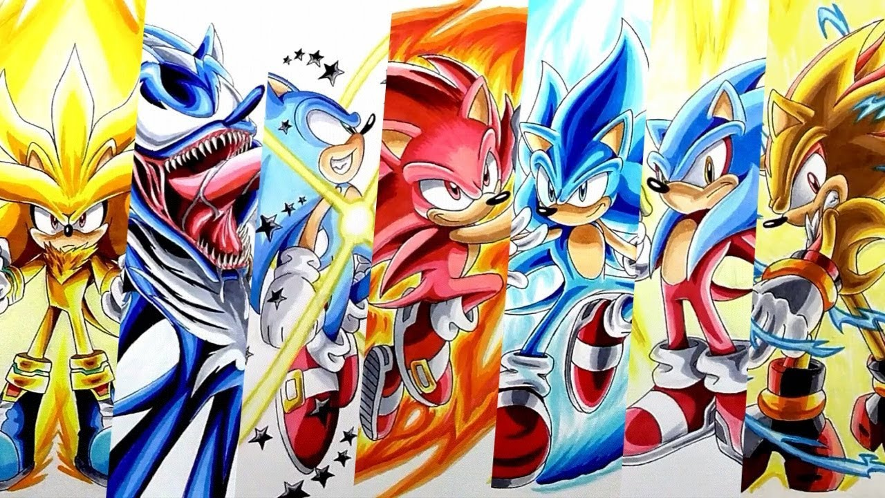 Drawing Sonic Super Forms And Transformations Compilation 3 Youtube