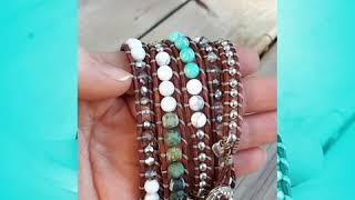 Bohemian handmade 5x wrap bracelet with Turquoise