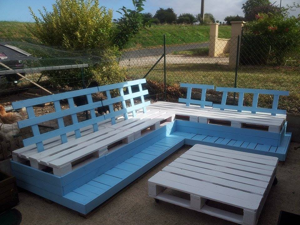 Fabrication en Palette d\'un salon de jardin