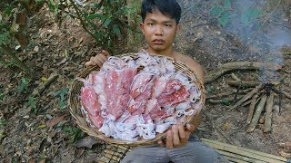 Cooking Squid With Secret Recipe for Dinner in forest