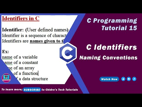 C programming tutorial 32 - C Identifiers and Naming Conventions thumbnail