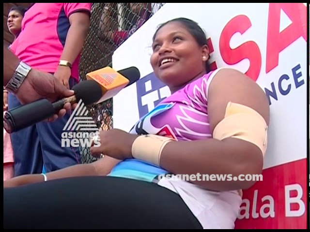 Megha Mariam participates in State School sports meet with injured hand