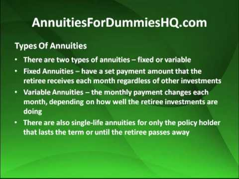 Annuities For Dummies In Depth Details Youtube