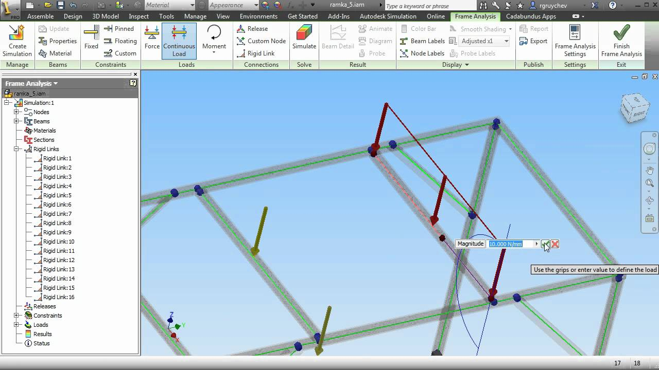 Autodesk Inventor Professional Frame Analysis - YouTube