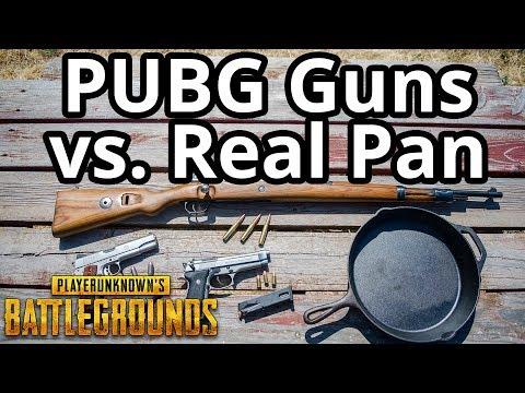PUBG Guns vs Real Pan (Kar98k, P1911, P92 vs. Pan) PlayerUnknown's Battlegrounds