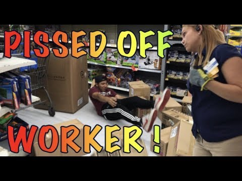 KID KNOCKS DOWN A PILE OF BOXES AT WALMART!! (SHENANIGANS//MANAGER CALLED)