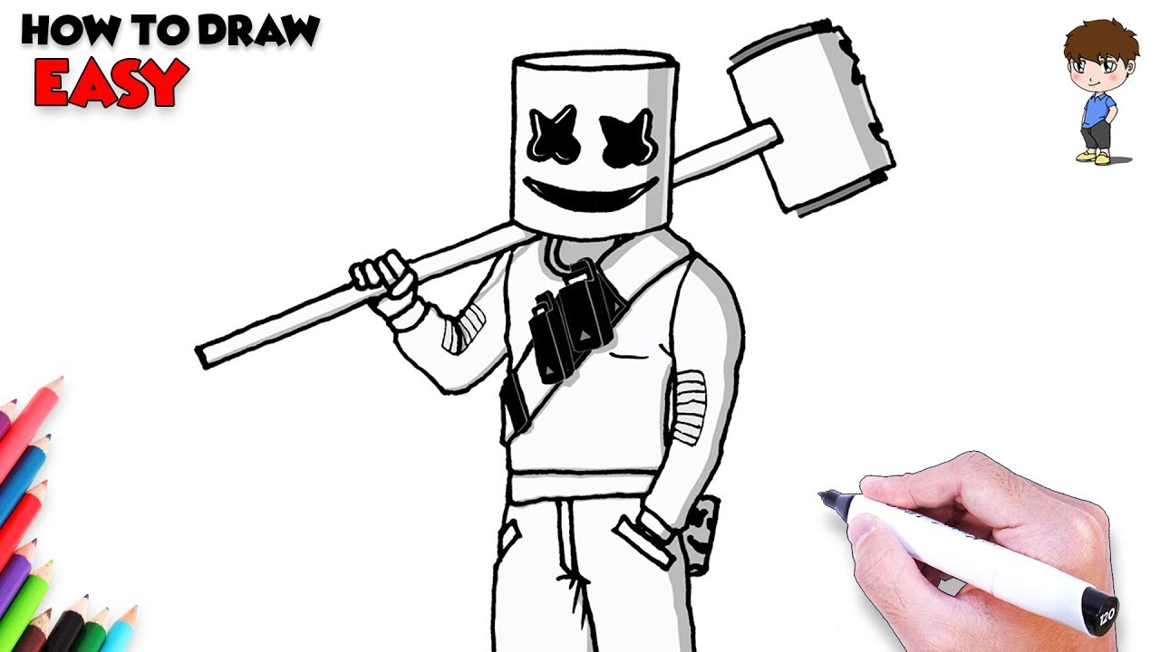 How to Draw Fortnite Marshmello Step by Step - Fortnite ...